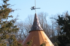 artscapelighting-copper-art-Copper Peak Silo with reclaimed weather vane